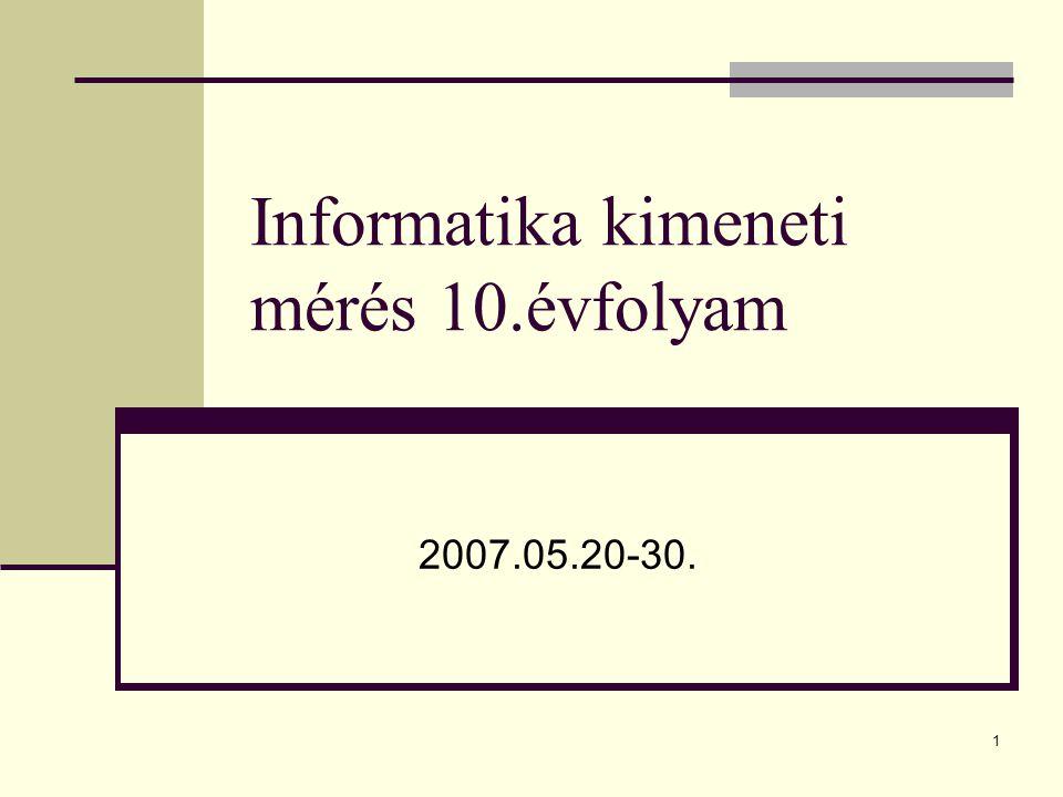 1 Informatika kimeneti mérés 10.évfolyam 2007.05.20-30.