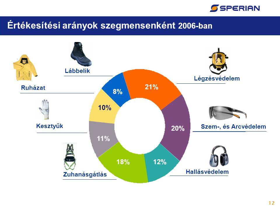 12 Értékesítési arányok szegmensenként 2006-ban 10% 11% 8% 18%12% 20% 21% Légzésvédelem Szem-, és Arcvédelem Hallásvédelem Zuhanásgátlás Kesztyűk Ruházat Lábbelik