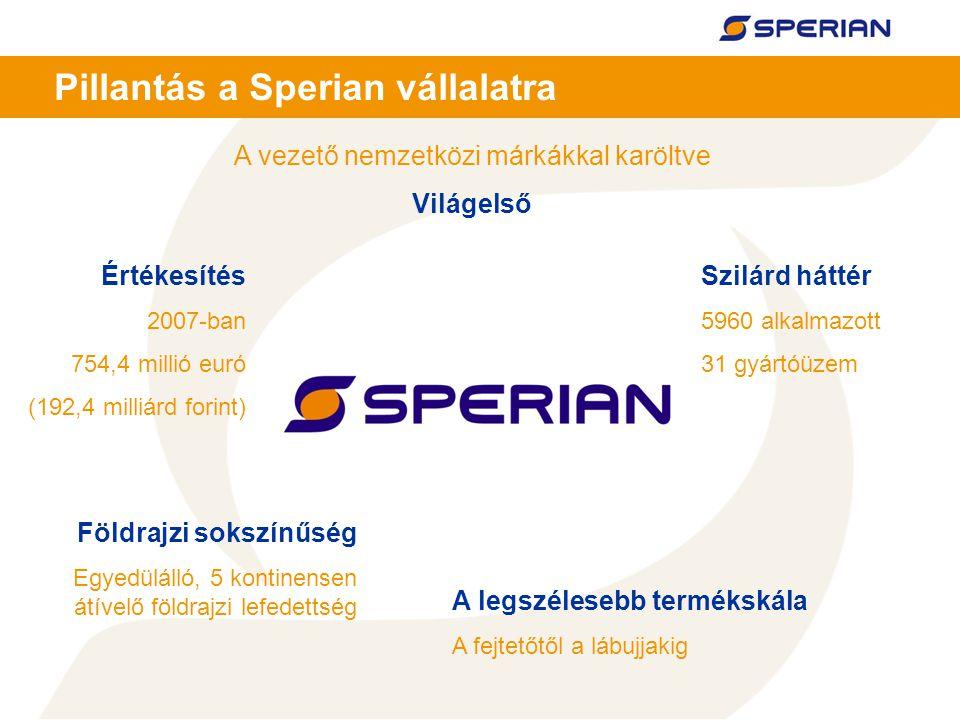 4 Pillantás a Sperian vállalatra A vezető nemzetközi márkákkal karöltve Világelső A legszélesebb termékskála A fejtetőtől a lábujjakig Értékesítés 2007-ban 754,4 millió euró (192,4 milliárd forint) Szilárd háttér 5960 alkalmazott 31 gyártóüzem Földrajzi sokszínűség Egyedülálló, 5 kontinensen átívelő földrajzi lefedettség
