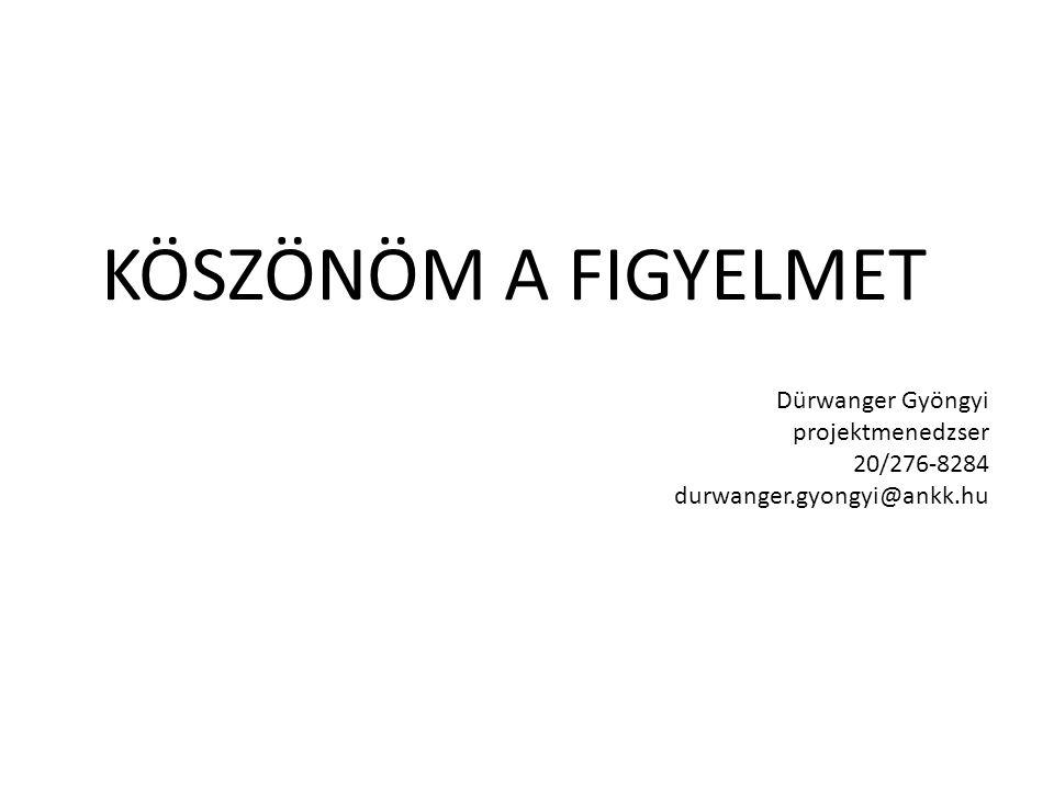 KÖSZÖNÖM A FIGYELMET Dürwanger Gyöngyi projektmenedzser 20/276-8284 durwanger.gyongyi@ankk.hu