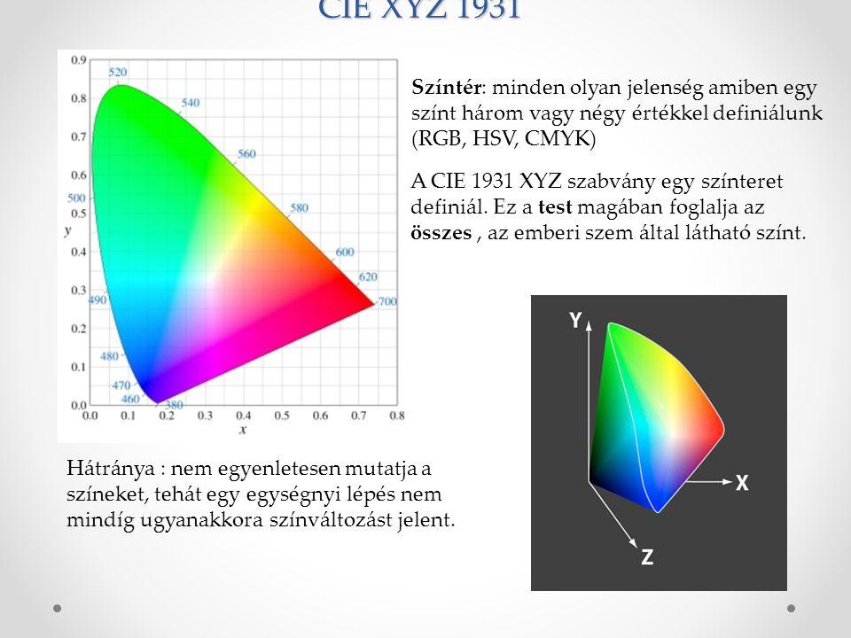 CIE XYZ 1931 Hátránya : nem egyenletesen mutatja a színeket, tehát egy egységnyi lépés nem mindíg ugyanakkora színváltozást jelent.