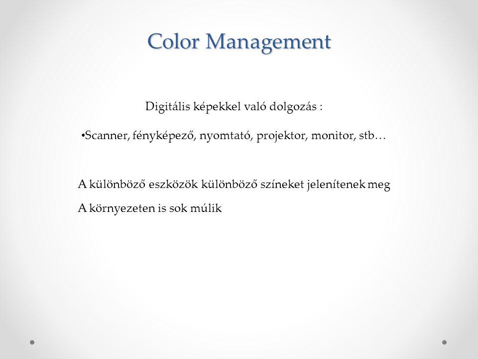 Color Management Digitális képekkel való dolgozás : Scanner, fényképező, nyomtató, projektor, monitor, stb… A különböző eszközök különböző színeket jelenítenek meg A környezeten is sok múlik