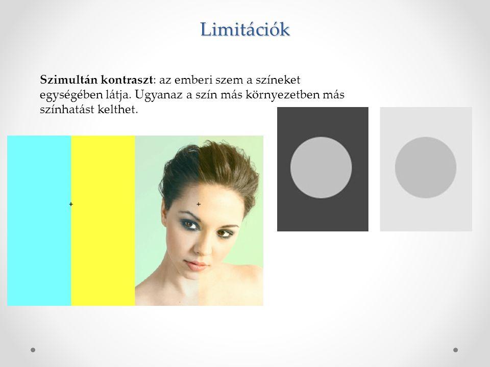 Limitációk Szimultán kontraszt: az emberi szem a színeket egységében látja.