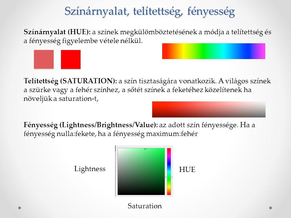 Színárnyalat, telítettség, fényesség Színárnyalat (HUE): a színek megkülömböztetésének a módja a telítettség és a fényesség figyelembe vétele nélkül.
