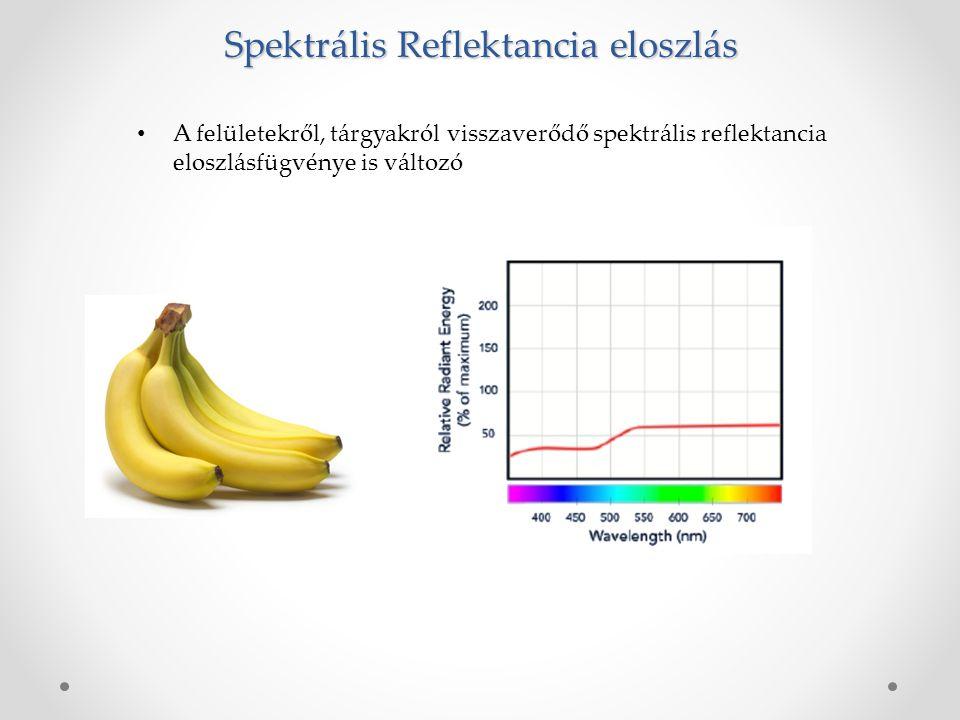 A felületekről, tárgyakról visszaverődő spektrális reflektancia eloszlásfügvénye is változó Spektrális Reflektancia eloszlás