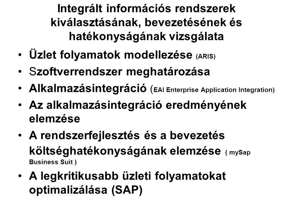 Integrált információs rendszerek kiválasztásának, bevezetésének és hatékonyságának vizsgálata Üzlet folyamatok modellezése (ARIS) Szoftverrendszer meg