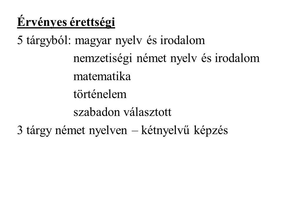 Érvényes érettségi 5 tárgyból: magyar nyelv és irodalom nemzetiségi német nyelv és irodalom matematika történelem szabadon választott 3 tárgy német ny