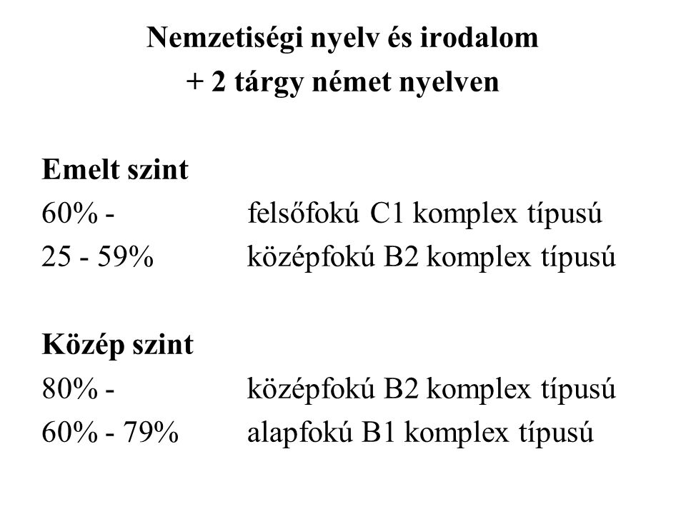 Nemzetiségi nyelv és irodalom + 2 tárgy német nyelven Emelt szint 60% - felsőfokú C1 komplex típusú 25 - 59%középfokú B2 komplex típusú Közép szint 80% -középfokú B2 komplex típusú 60% - 79%alapfokú B1 komplex típusú
