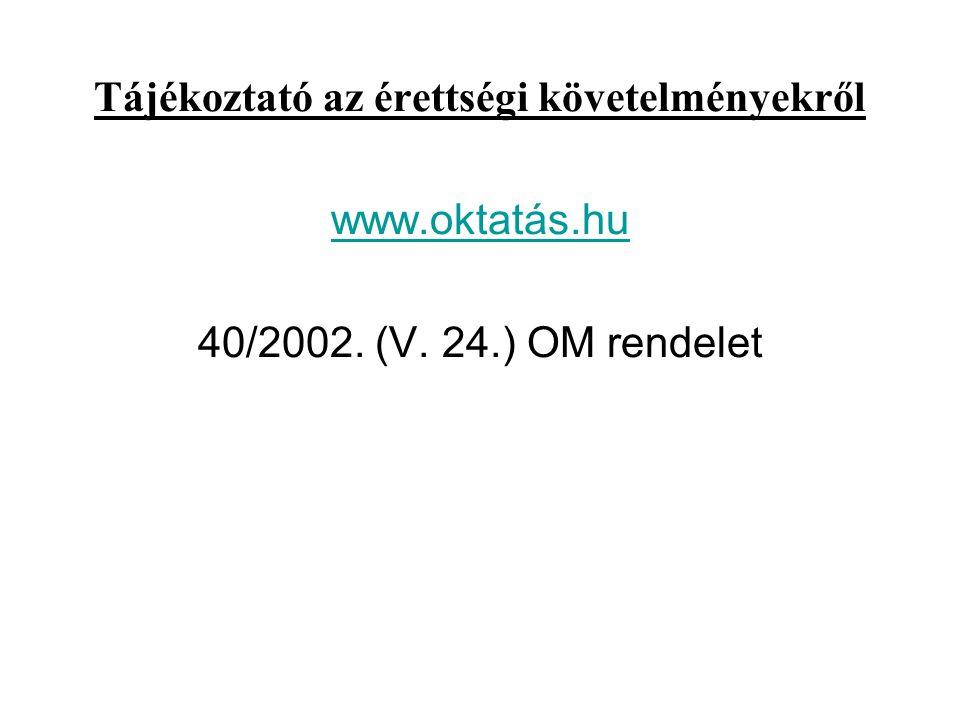 Tájékoztató az érettségi követelményekről www.oktatás.hu 40/2002. (V. 24.) OM rendelet