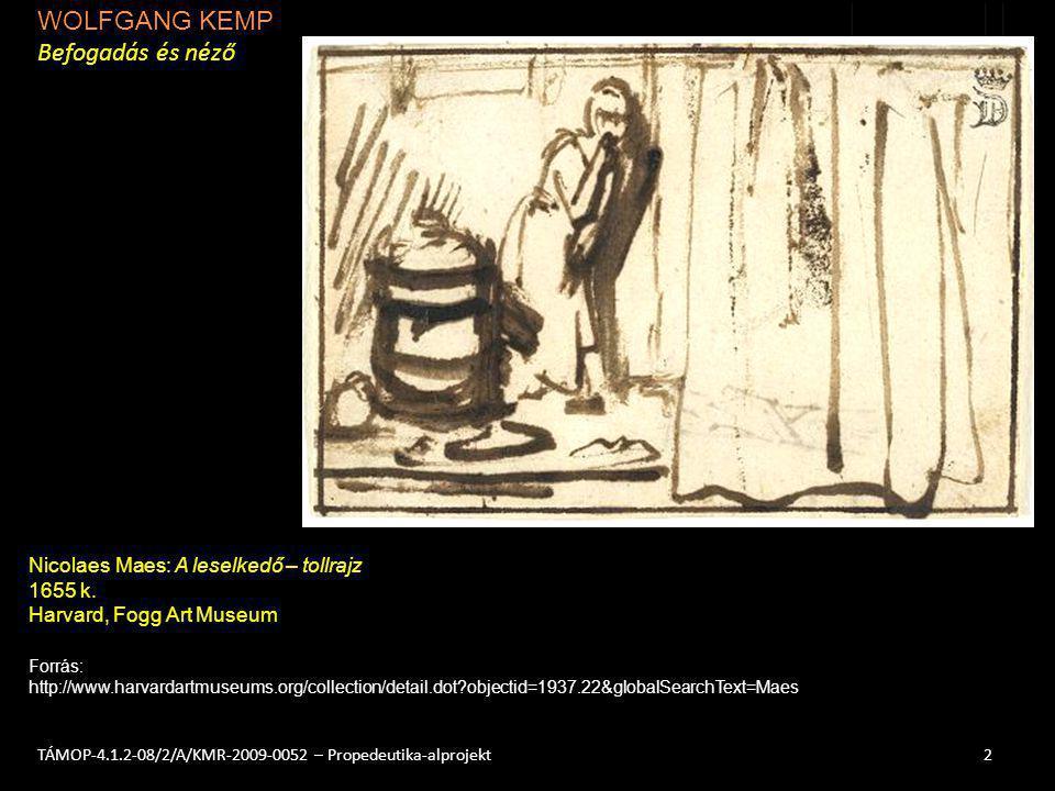 WOLFGANG KEMP Befogadás és néző 2TÁMOP-4.1.2-08/2/A/KMR-2009-0052 – Propedeutika-alprojekt Nicolaes Maes: A leselkedő – tollrajz 1655 k. Harvard, Fogg