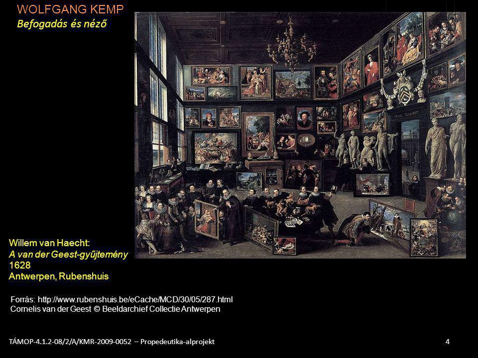 WOLFGANG KEMP Befogadás és néző 4TÁMOP-4.1.2-08/2/A/KMR-2009-0052 – Propedeutika-alprojekt Willem van Haecht: A van der Geest-gyűjtemény 1628 Antwerpe