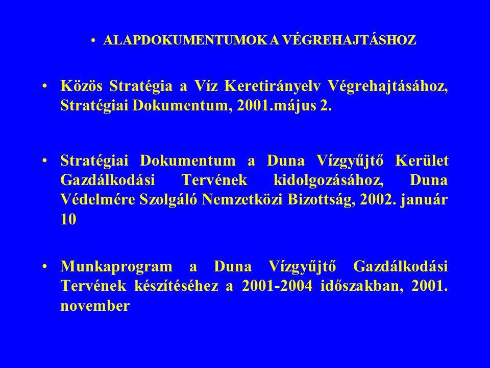 ALAPDOKUMENTUMOK A VÉGREHAJTÁSHOZ Közös Stratégia a Víz Keretirányelv Végrehajtásához, Stratégiai Dokumentum, 2001.május 2. Stratégiai Dokumentum a Du