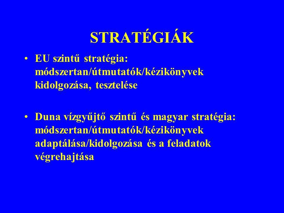 STRATÉGIÁK EU szintű stratégia: módszertan/útmutatók/kézikönyvek kidolgozása, tesztelése Duna vízgyűjtő szintű és magyar stratégia: módszertan/útmutat