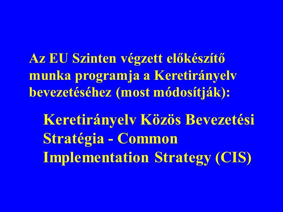 Az EU Szinten végzett előkészítő munka programja a Keretirányelv bevezetéséhez (most módosítják): Keretirányelv Közös Bevezetési Stratégia - Common Im
