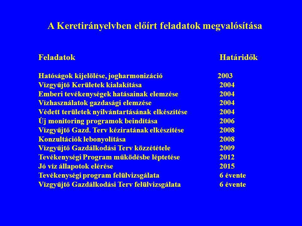 A Keretirányelvben előírt feladatok megvalósítása FeladatokHatáridők Hatóságok kijelölése, jogharmonizáció 2003 Vízgyűjtő Kerületek kialakítása2004 Em
