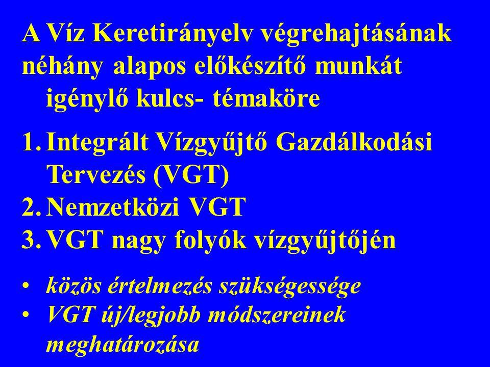 A Víz Keretirányelv végrehajtásának néhány alapos előkészítő munkát igénylő kulcs- témaköre 1.Integrált Vízgyűjtő Gazdálkodási Tervezés (VGT) 2.Nemzet