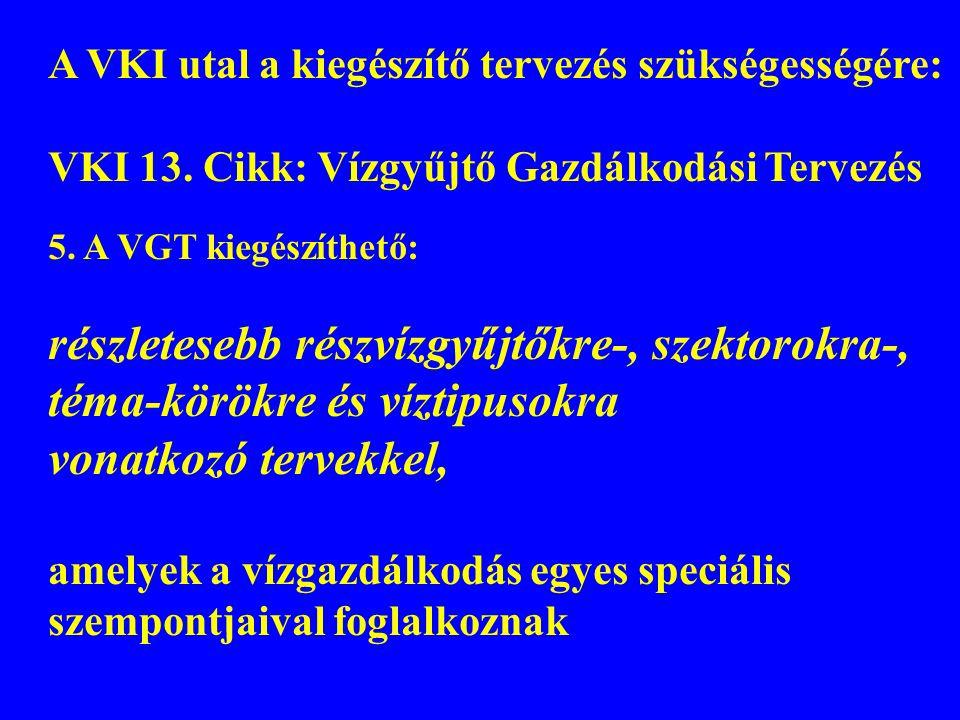 A VKI utal a kiegészítő tervezés szükségességére: VKI 13. Cikk: Vízgyűjtő Gazdálkodási Tervezés 5. A VGT kiegészíthető: részletesebb részvízgyűjtőkre-
