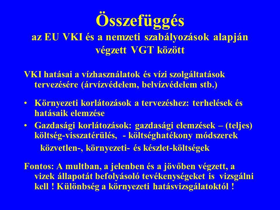Összefüggés az EU VKI és a nemzeti szabályozások alapján végzett VGT között VKI hatásai a vízhasználatok és vízi szolgáltatások tervezésére (árvízvéde