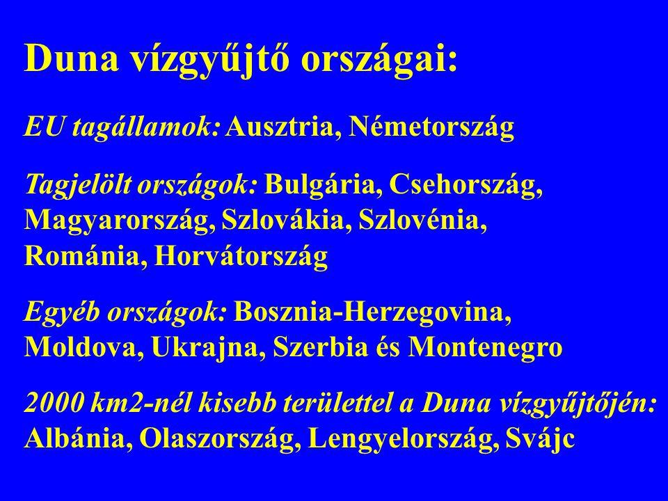 Duna vízgyűjtő országai: EU tagállamok: Ausztria, Németország Tagjelölt országok: Bulgária, Csehország, Magyarország, Szlovákia, Szlovénia, Románia, H