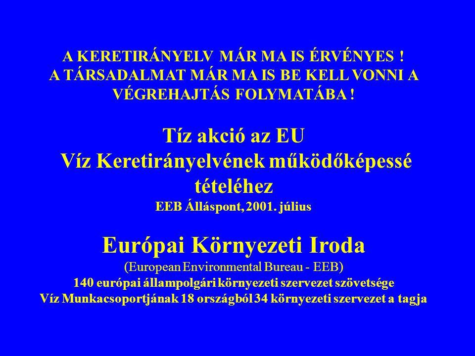 A KERETIRÁNYELV MÁR MA IS ÉRVÉNYES ! A TÁRSADALMAT MÁR MA IS BE KELL VONNI A VÉGREHAJTÁS FOLYMATÁBA ! Tíz akció az EU Víz Keretirányelvének működőképe