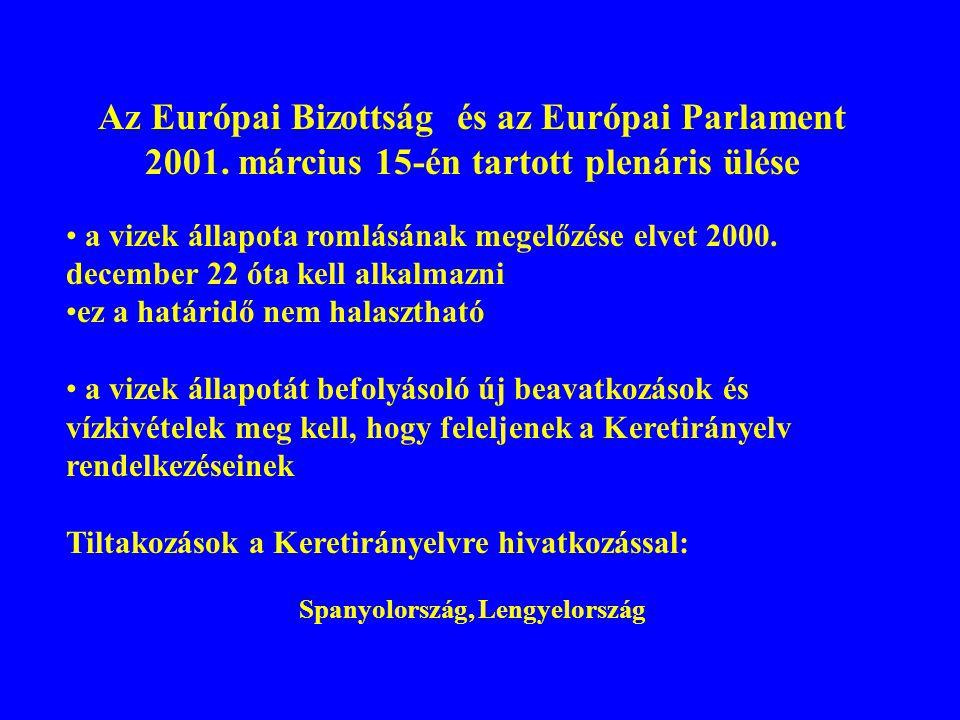 Az Európai Bizottság és az Európai Parlament 2001. március 15-én tartott plenáris ülése a vizek állapota romlásának megelőzése elvet 2000. december 22