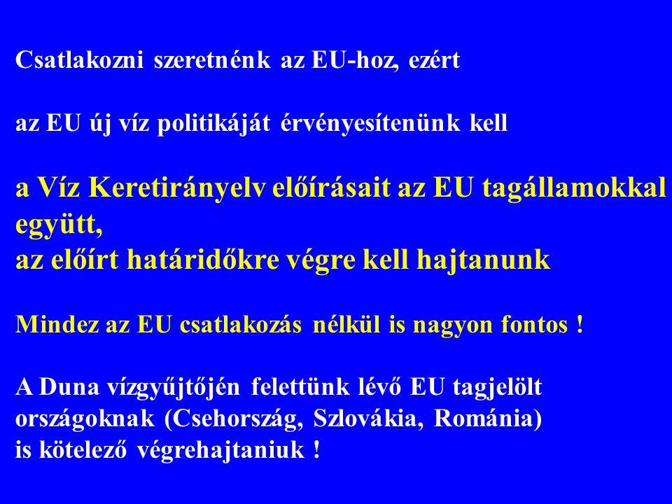 Csatlakozni szeretnénk az EU-hoz, ezért az EU új víz politikáját érvényesítenünk kell a Víz Keretirányelv előírásait az EU tagállamokkal együtt, az el