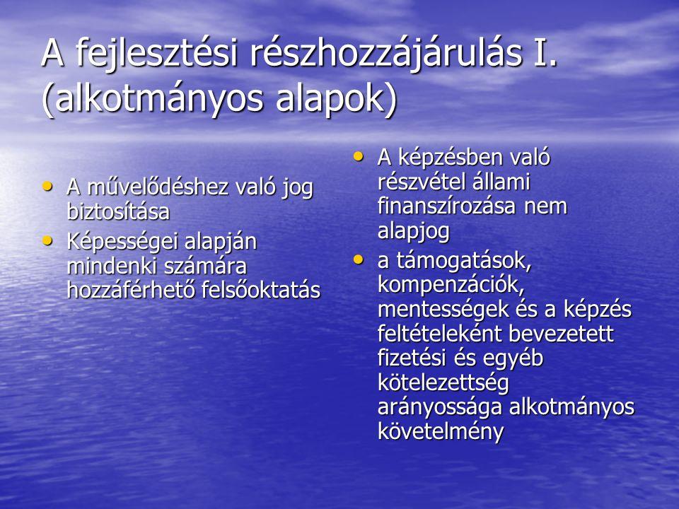 Fejlesztési részhozzájárulás II.