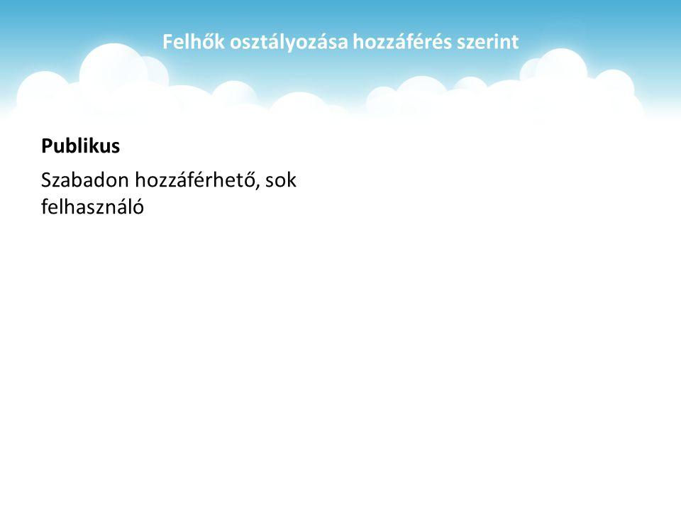 Felhők osztályozása hozzáférés szerint Publikus Szabadon hozzáférhető, sok felhasználó