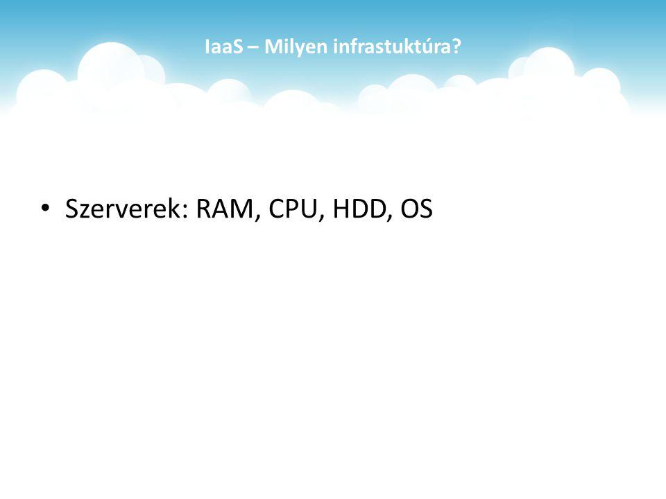 IaaS – Milyen infrastuktúra Szerverek: RAM, CPU, HDD, OS