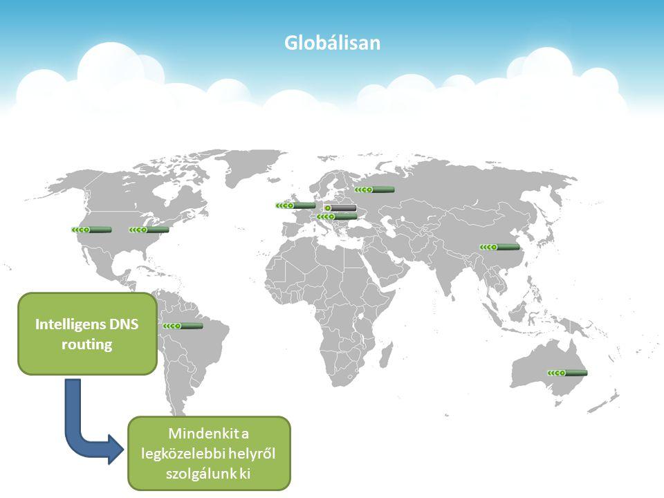 Globálisan Intelligens DNS routing Mindenkit a legközelebbi helyről szolgálunk ki