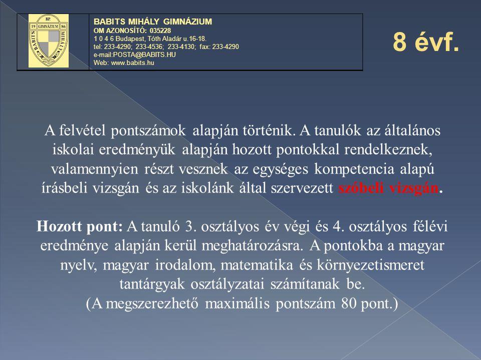 BABITS MIHÁLY GIMNÁZIUM OM AZONOSÍTÓ: 035228 1 0 4 6 Budapest, Tóth Aladár u.16-18. tel: 233-4290; 233-4536; 233-4130; fax: 233-4290 e-mail:POSTA@BABI