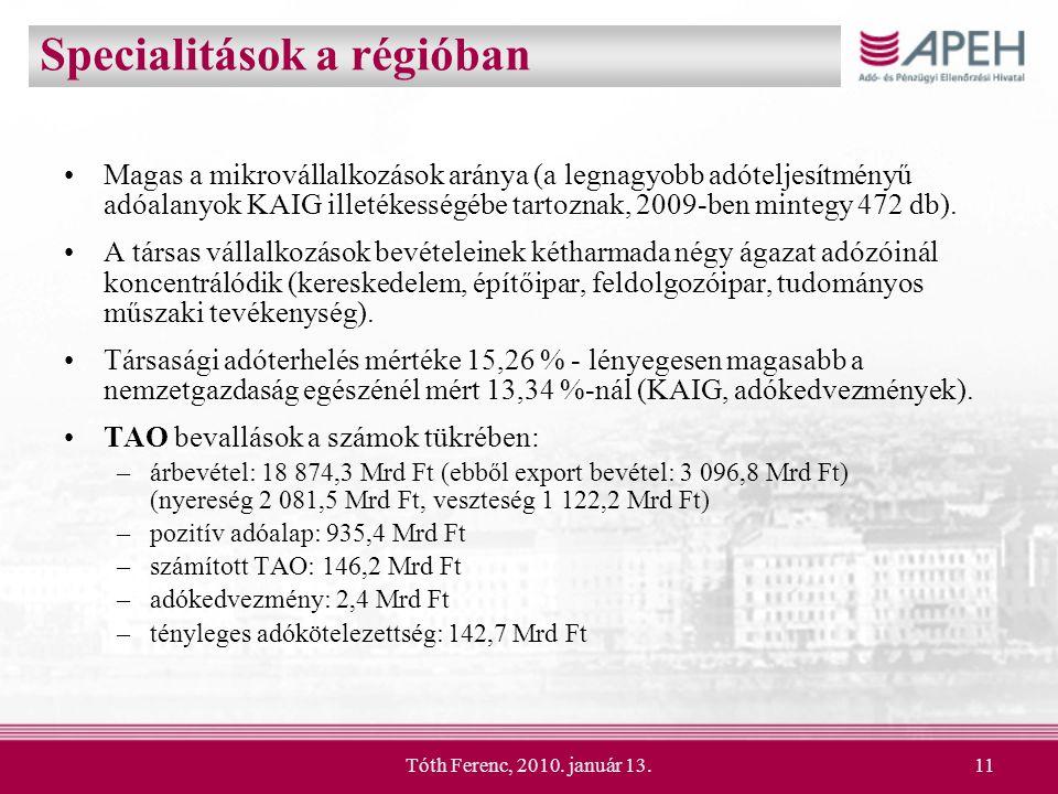 Tóth Ferenc, 2010. január 13.11 Specialitások a régióban Magas a mikrovállalkozások aránya (a legnagyobb adóteljesítményű adóalanyok KAIG illetékesség
