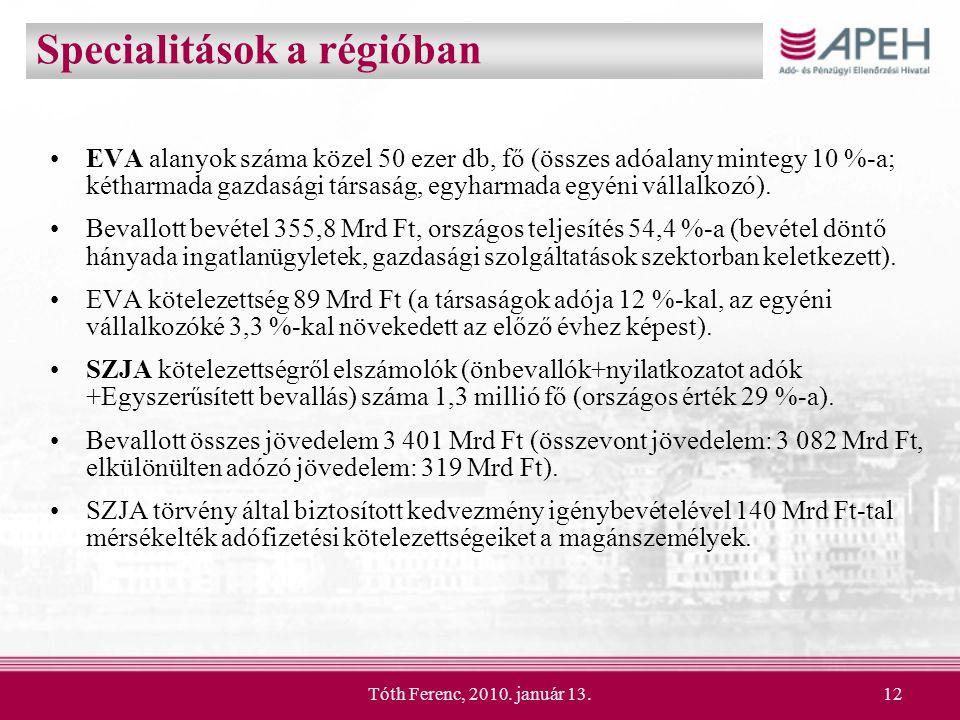 Tóth Ferenc, 2010. január 13.12 Specialitások a régióban EVA alanyok száma közel 50 ezer db, fő (összes adóalany mintegy 10 %-a; kétharmada gazdasági