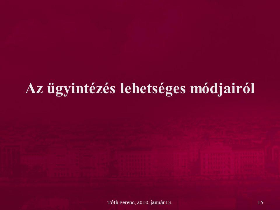Tóth Ferenc, 2010. január 13.15 Az ügyintézés lehetséges módjairól