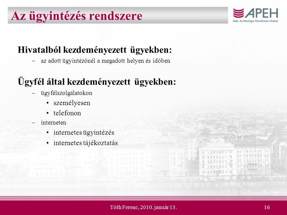 Tóth Ferenc, 2010. január 13.16 Az ügyintézés rendszere Hivatalból kezdeményezett ügyekben: –az adott ügyintézőnél a megadott helyen és időben Ügyfél