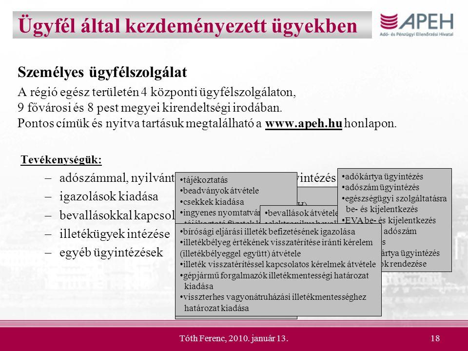 Tóth Ferenc, 2010. január 13.18 Személyes ügyfélszolgálat A régió egész területén 4 központi ügyfélszolgálaton, 9 fővárosi és 8 pest megyei kirendelts