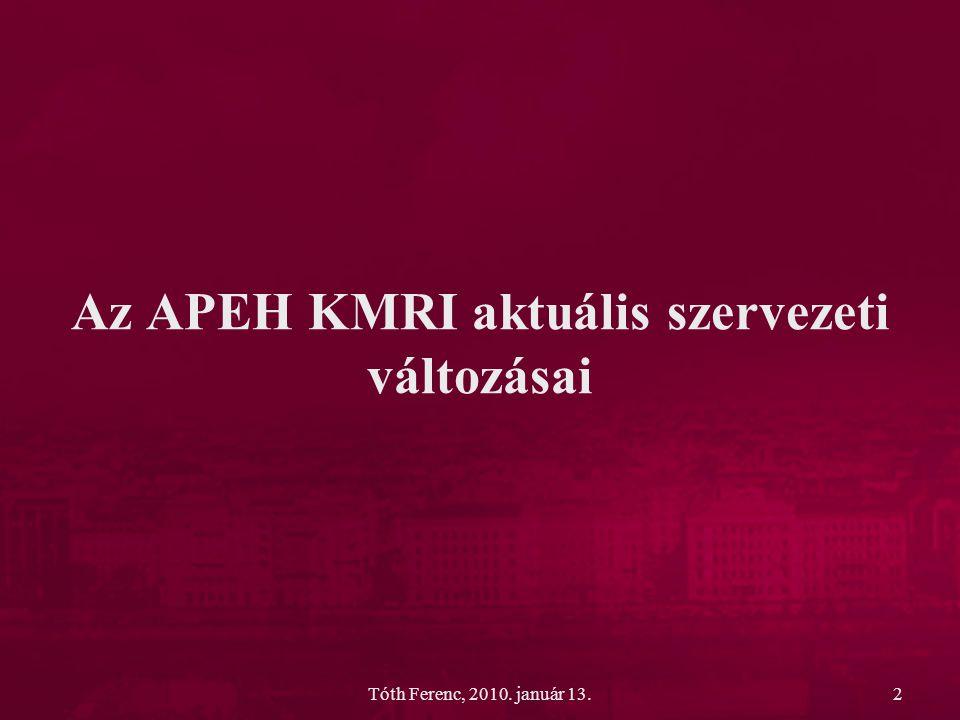 Tóth Ferenc, 2010.január 13.13 Bevallások számának alakulása Bevallások megnevezése 2009.