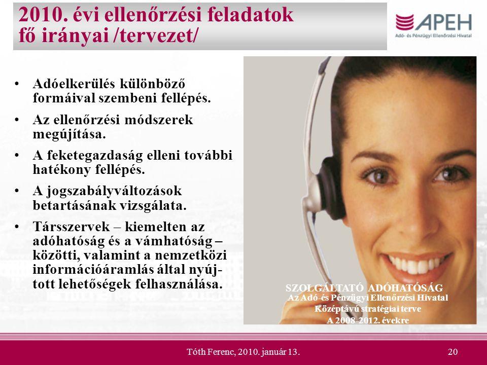 Tóth Ferenc, 2010. január 13.20 2010. évi ellenőrzési feladatok fő irányai /tervezet/ Adóelkerülés különböző formáival szembeni fellépés. Az ellenőrzé