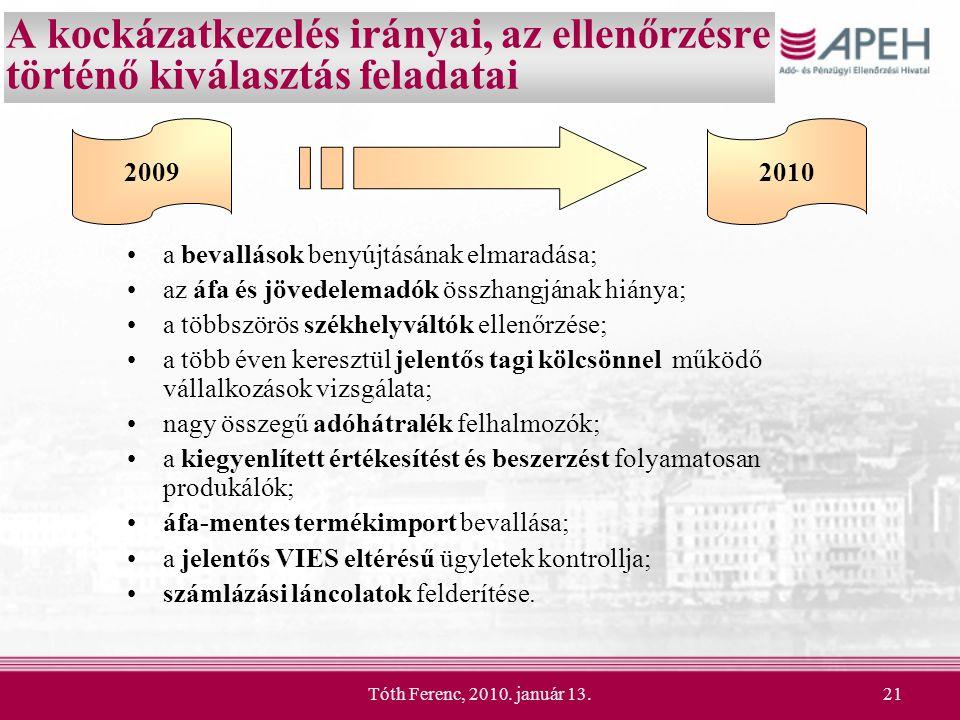 Tóth Ferenc, 2010. január 13.21 A kockázatkezelés irányai, az ellenőrzésre történő kiválasztás feladatai a bevallások benyújtásának elmaradása; az áfa