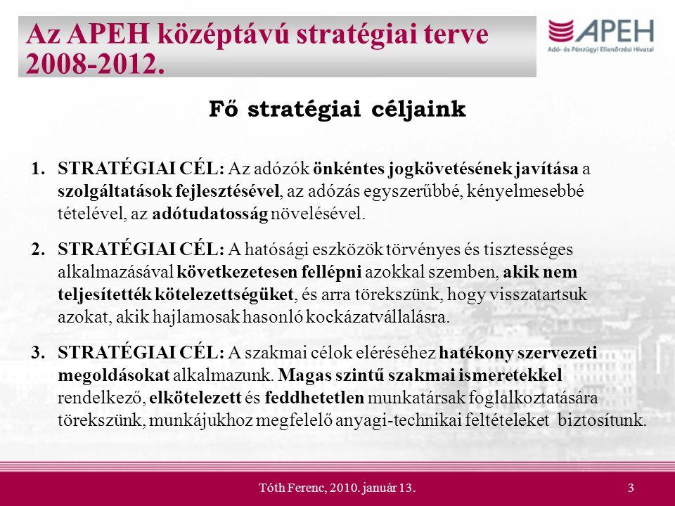 Tóth Ferenc, 2010. január 13.3 Fő stratégiai céljaink 1.STRATÉGIAI CÉL: Az adózók önkéntes jogkövetésének javítása a szolgáltatások fejlesztésével, az