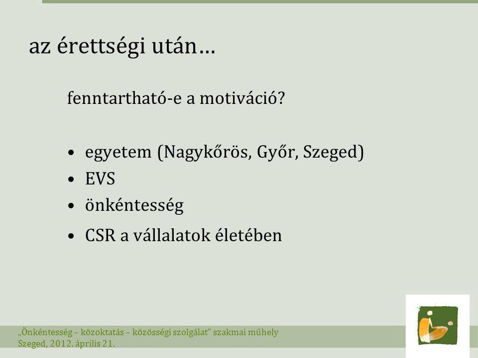 """az érettségi után… fenntartható-e a motiváció? egyetem (Nagykőrös, Győr, Szeged) EVS önkéntesség CSR a vállalatok életében """"Önkéntesség – közoktatás –"""