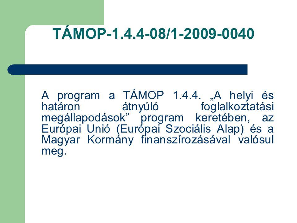 TÁMOP-1.4.4-08/1-2009-0040 A program a TÁMOP 1.4.4.
