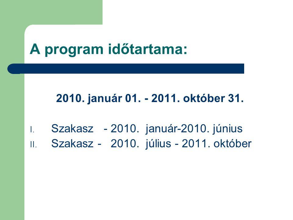 A program időtartama: 2010.január 01. - 2011. október 31.