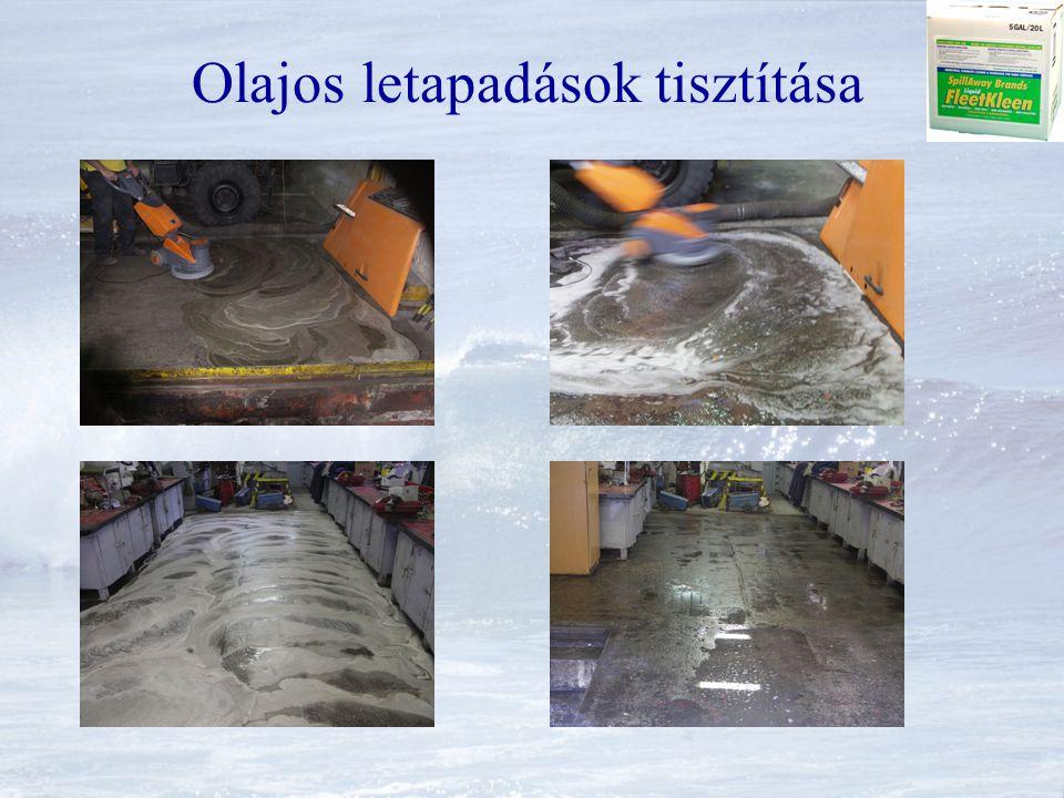 Garázs, javító műhely tisztítása Ipari padozat tisztítása tárcsás kefével és nagynyomású tisztítóval Olaj és csúszásmentes padozat, a lefolyó dugulása megszűnt