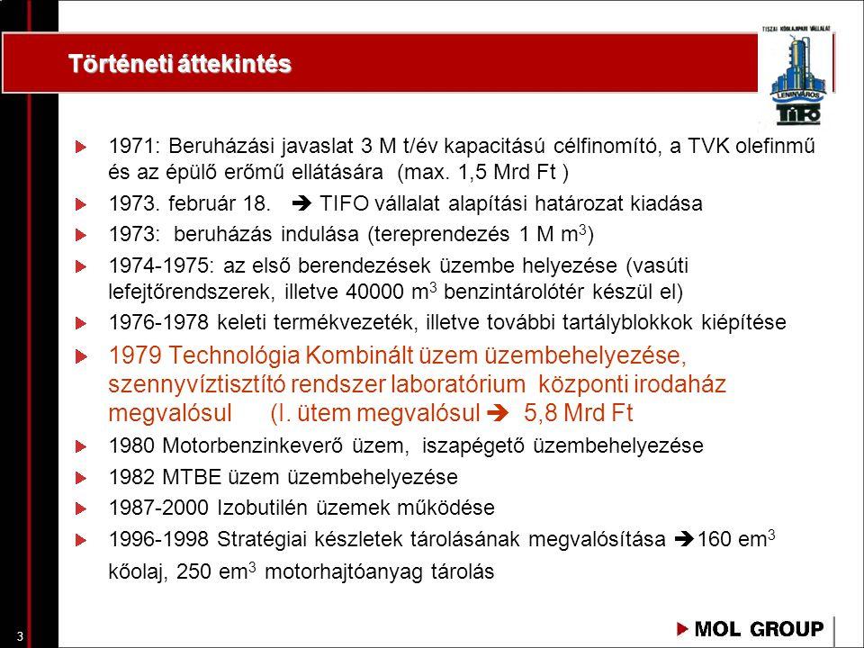 3 Történeti áttekintés 1971: Beruházási javaslat 3 M t/év kapacitású célfinomító, a TVK olefinmű és az épülő erőmű ellátására (max. 1,5 Mrd Ft ) 1973.