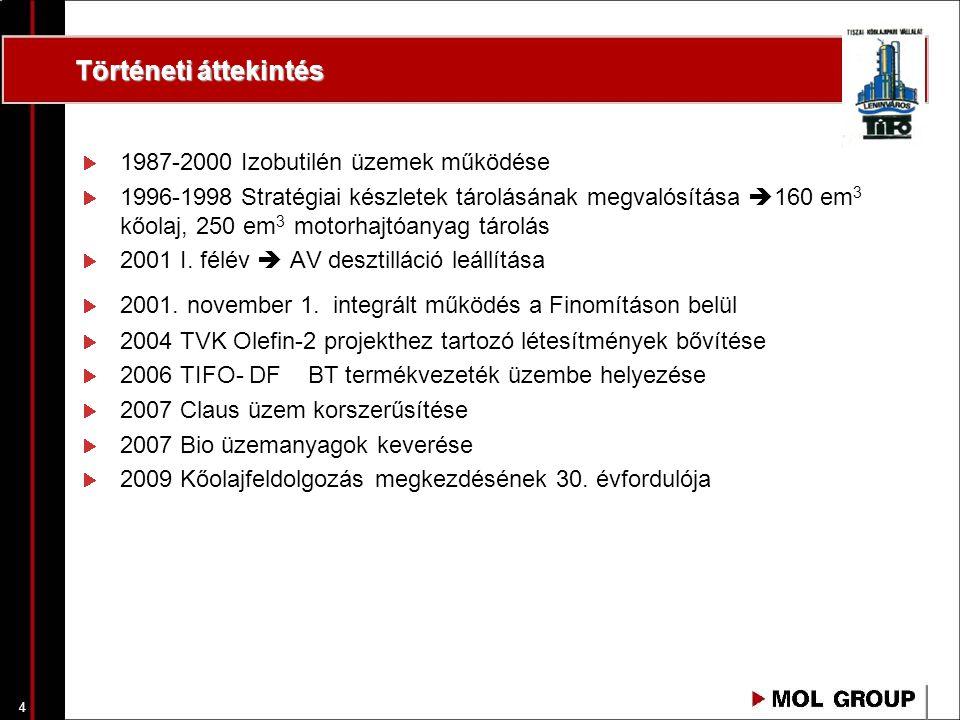 4 Történeti áttekintés 1987-2000 Izobutilén üzemek működése 1996-1998 Stratégiai készletek tárolásának megvalósítása  160 em 3 kőolaj, 250 em 3 motorhajtóanyag tárolás 2001 I.