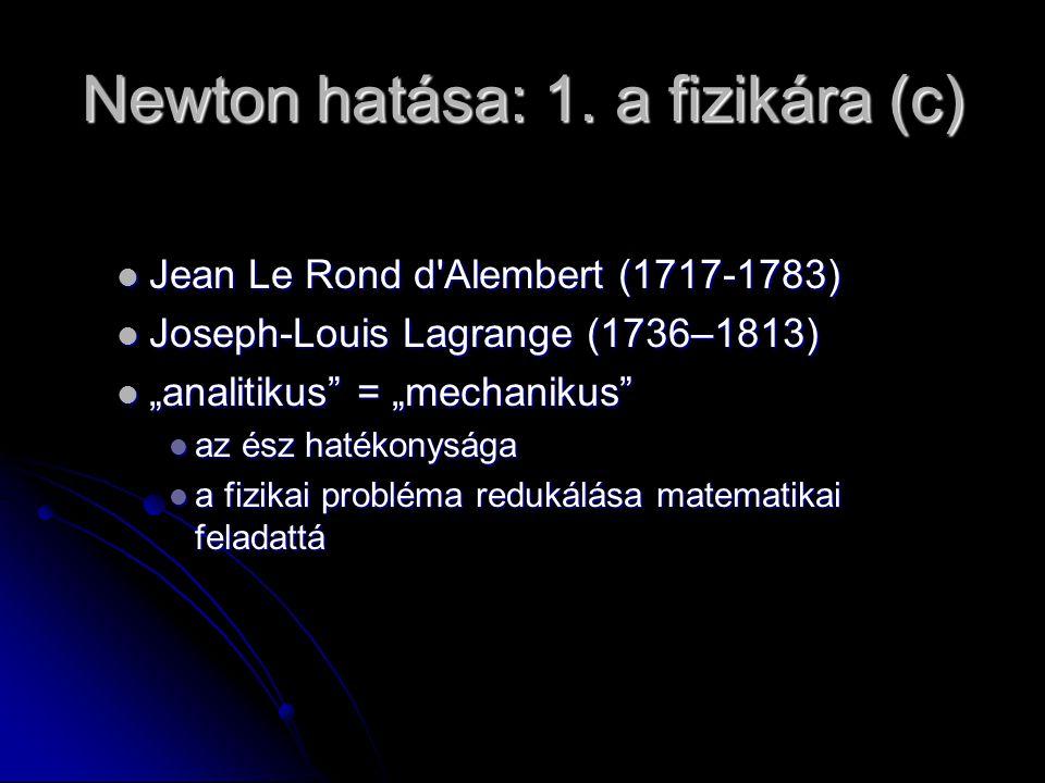 Newton hatása: 1. a fizikára (c) Jean Le Rond d'Alembert (1717-1783) Jean Le Rond d'Alembert (1717-1783) Joseph-Louis Lagrange (1736–1813) Joseph-Loui