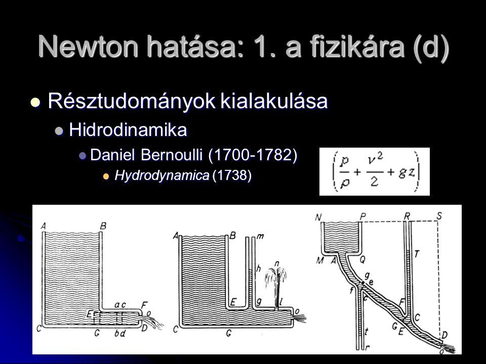 Newton hatása: 1. a fizikára (d) Résztudományok kialakulása Résztudományok kialakulása Hidrodinamika Hidrodinamika Daniel Bernoulli (1700-1782) Daniel