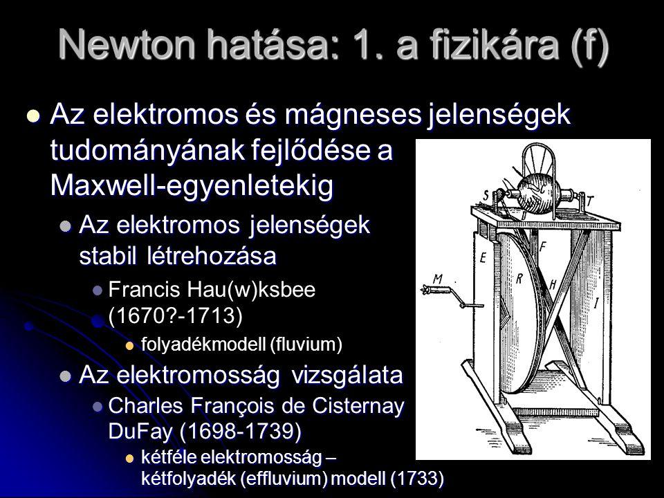 Newton hatása: 1. a fizikára (f) Az elektromos és mágneses jelenségek tudományának fejlődése a Maxwell-egyenletekig Az elektromos és mágneses jelenség