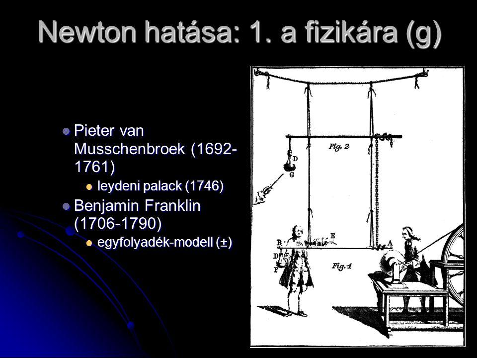 Newton hatása: 1. a fizikára (g) Pieter van Musschenbroek (1692- 1761) Pieter van Musschenbroek (1692- 1761) leydeni palack (1746) leydeni palack (174